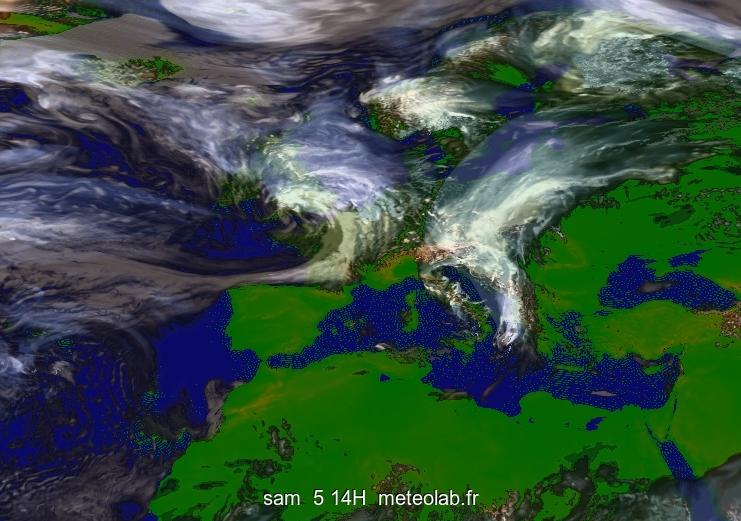 image satellite prévue par le modèle ARPEGE